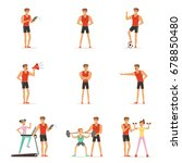 personal gym coach trainer or... | Shutterstock .eps vector #678850480