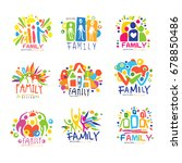 family colorful labels original ... | Shutterstock .eps vector #678850486