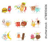 cute funny food characters... | Shutterstock .eps vector #678850606