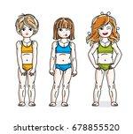 little girls standing in... | Shutterstock .eps vector #678855520