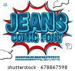 blue denim font on comic book... | Shutterstock .eps vector #678867598