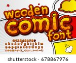 colorful wooden font on comic... | Shutterstock .eps vector #678867976