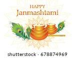 happy janmashtami. dahi handi... | Shutterstock .eps vector #678874969