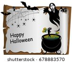 witches cauldron with her hand... | Shutterstock .eps vector #678883570