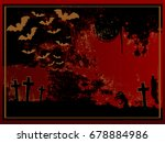 red halloween card with... | Shutterstock .eps vector #678884986