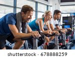 group of smiling friends at gym ... | Shutterstock . vector #678888259