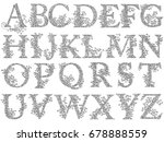 set of fishnet  lace  font with ... | Shutterstock .eps vector #678888559