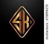golden monogram logo curved... | Shutterstock .eps vector #678898270