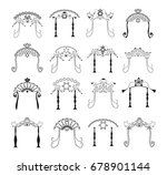 set of vintage graphic chuppah. ...   Shutterstock .eps vector #678901144