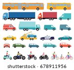 cars  truck  bus  scooter ... | Shutterstock . vector #678911956