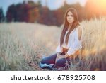 dreaming in a wheaten field... | Shutterstock . vector #678925708