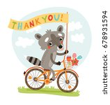 cute raccoon. thank you | Shutterstock .eps vector #678931594