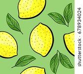 seamless hand drawn lemon... | Shutterstock . vector #678934024