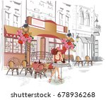 fashion girl in a red hat... | Shutterstock .eps vector #678936268