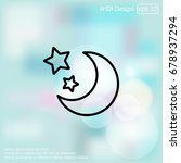web line icon. moon and stars | Shutterstock .eps vector #678937294