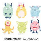 cute vector monsters. a set of... | Shutterstock .eps vector #678939064