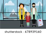family at airport. trendy young ...   Shutterstock .eps vector #678939160