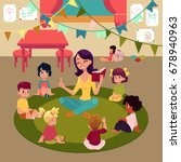 kindergarten kids sitting in... | Shutterstock .eps vector #678940963