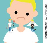 angel and devil. decision... | Shutterstock .eps vector #678941080