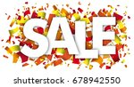 warm colors confetti with text... | Shutterstock .eps vector #678942550