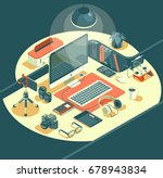 isometric 3d workspace concept... | Shutterstock .eps vector #678943834
