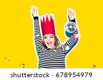party girl in colorful... | Shutterstock . vector #678954979