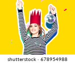 party girl in colorful... | Shutterstock . vector #678954988
