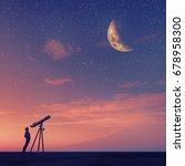 man looks through a telescope... | Shutterstock . vector #678958300