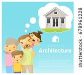 happy family and dream house...   Shutterstock .eps vector #678961228