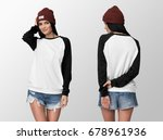 white pullover with black... | Shutterstock . vector #678961936