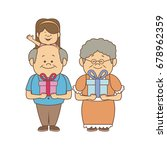 happy grandparents with gift... | Shutterstock .eps vector #678962359