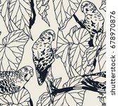budgie seamless pattern with... | Shutterstock .eps vector #678970876
