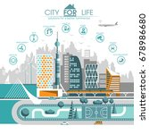city flat. cityscape background ... | Shutterstock .eps vector #678986680