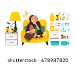 sick woman sitting at home and... | Shutterstock .eps vector #678987820