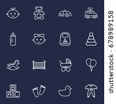 set of 16 baby outline icons... | Shutterstock .eps vector #678989158