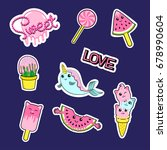 fashion patch badges with... | Shutterstock . vector #678990604