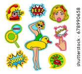 fashion patch badges in pin up... | Shutterstock . vector #678990658