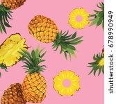 seamless pineapple pattern | Shutterstock .eps vector #678990949
