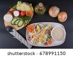 chicken salad with boiled egg... | Shutterstock . vector #678991150