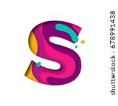 paper cut letter s. realistic... | Shutterstock .eps vector #678991438