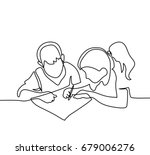 boy and girl drawing on paper.... | Shutterstock .eps vector #679006276