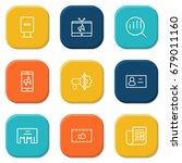 set of 9 commercial outline... | Shutterstock .eps vector #679011160