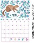 vector monthly calendar with... | Shutterstock .eps vector #679014619