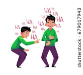 young man crying from laughter  ... | Shutterstock .eps vector #679017943
