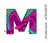 paper cut letter m. realistic... | Shutterstock .eps vector #679018570