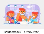 young family. boy brushing his...   Shutterstock .eps vector #679027954