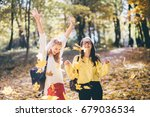 cute two teenager girls with... | Shutterstock . vector #679036534