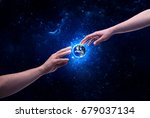 male god hands about to touch... | Shutterstock . vector #679037134