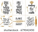 set of vector bakery lettering... | Shutterstock .eps vector #679042450