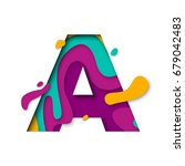 paper cut letter a. realistic... | Shutterstock .eps vector #679042483